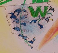 lower-case w with blue vine